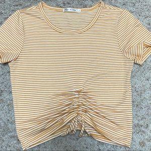 Women's Cute Yellow and White Striped Shirt